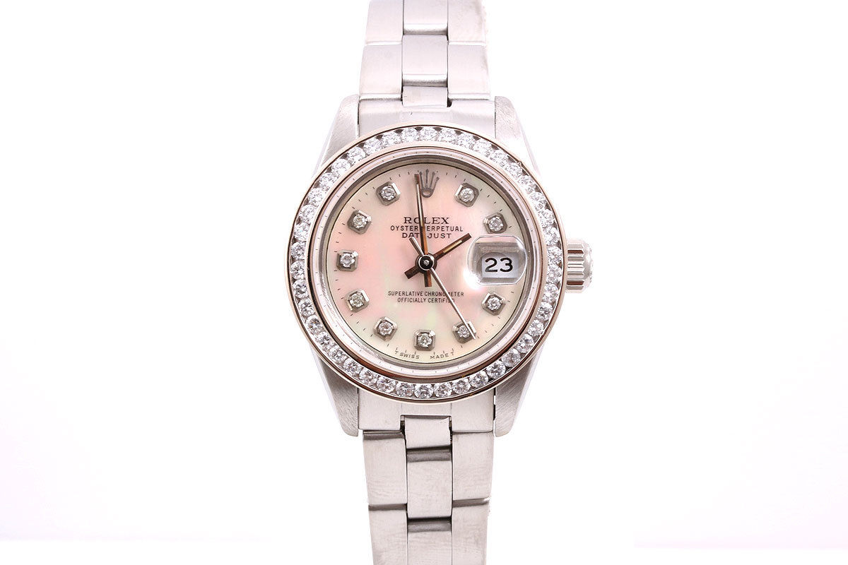 """Image of """"Rolex Datejust 69240 Stainless Steel Mother Of Pearl Diamond Dial &"""""""