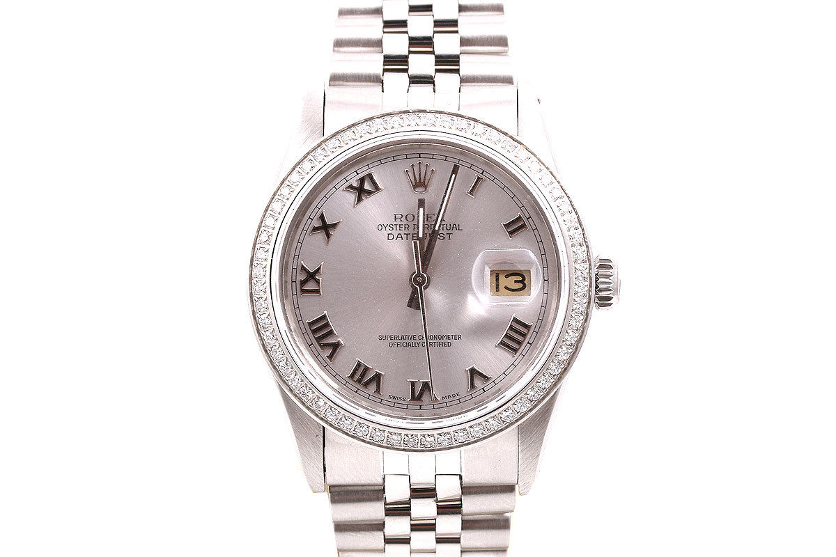 """Image of """"Rolex Datejust Stainless Steel Silver Roman Numeral Dial Diamond Bezel"""""""