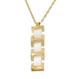 Versace 18K Yellow Gold White Ceramic Linked Design Pendant Necklace