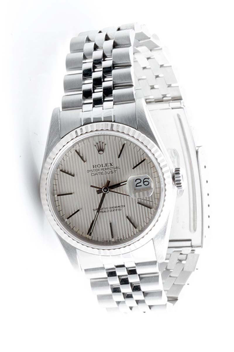 "Image of ""Rolex Datejust 16234 18K White Gold & Stainless Steel Silver Tapestry"""