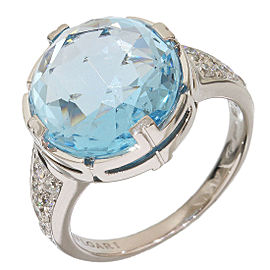 Bulgari 18K White Gold Parentesi Diamonds & Blue Topaz Ring Size 7.25
