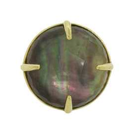 Ippolita Lolipop 18K Yellow Gold Tahitian Mother of Pearl Ring Size 7