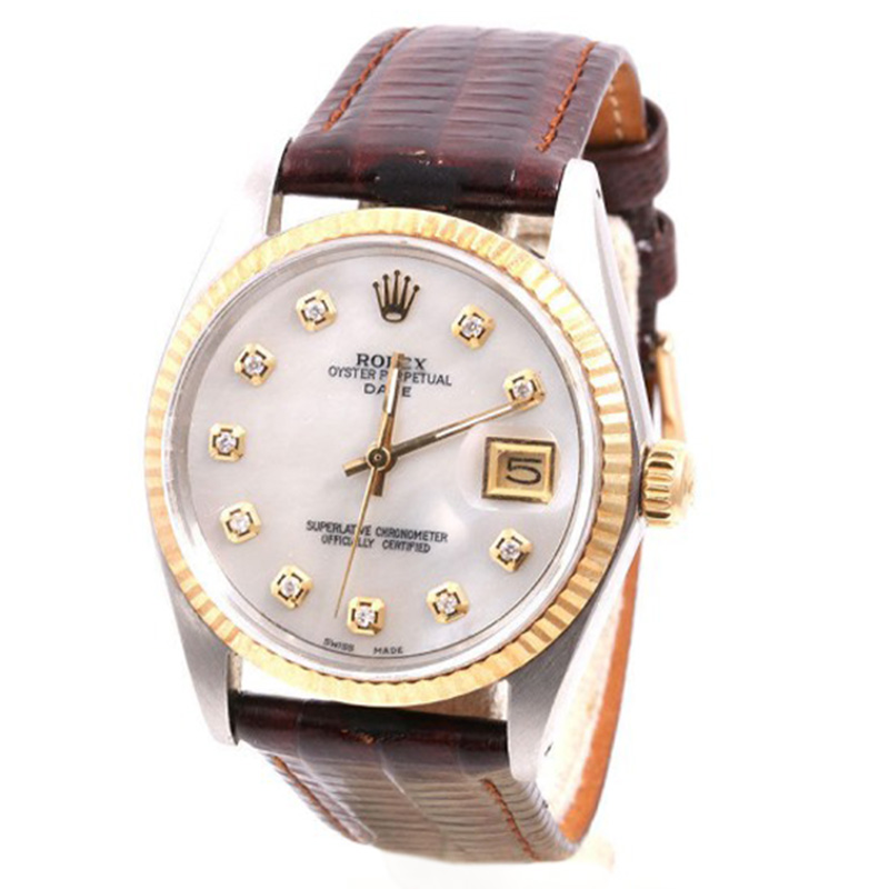 "Image of ""Rolex Date 18K Yellow Gold & Stainless Steel Mother Of Pearl Diamond"""