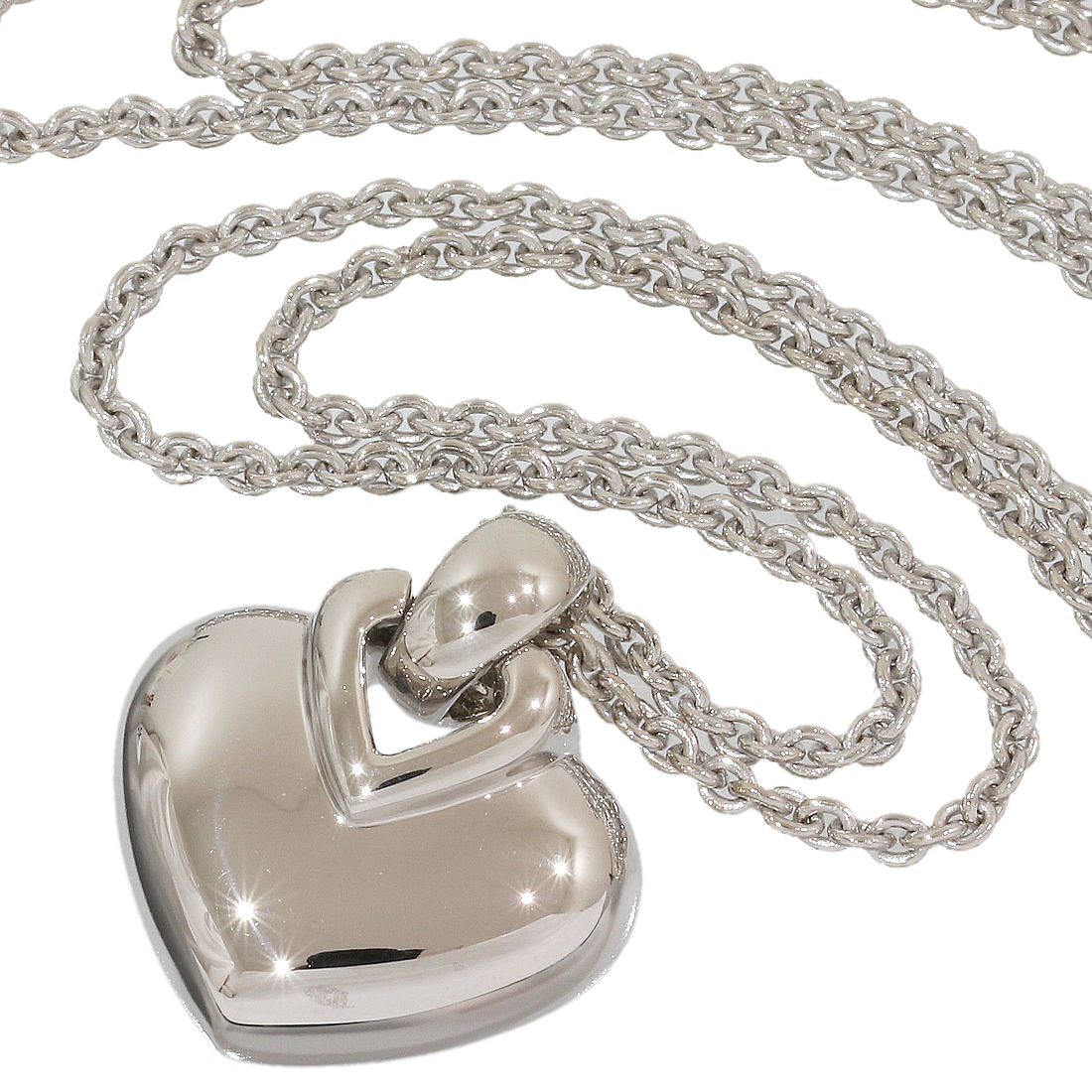 "Image of ""Bulgari 18K White Gold Heart Motif Necklace Pendant"""
