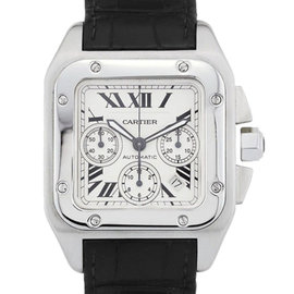 Cartier Santos 100 W20090X Leather 38mm Mens Watch