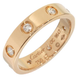Cartier Mini Love 18K Rose Gold Diamonds Ring Size 4