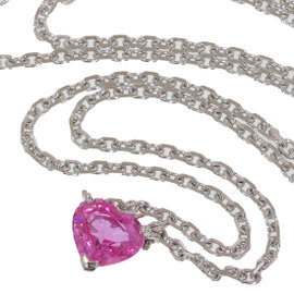 Cartier 18K White Gold Pink Sapphire Heart Pendant Necklace