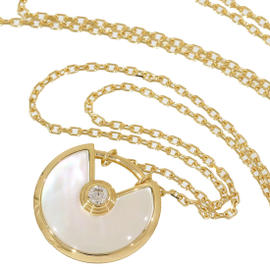Cartier 18K Yellow Gold Amulette Diamond & Shell Necklace