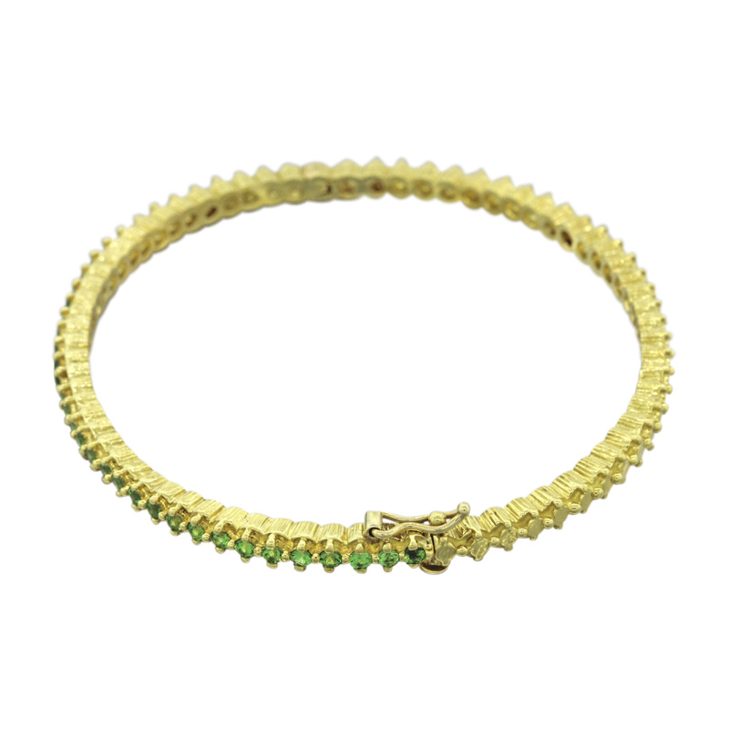 "Image of ""Doris Panos 18K Yellow Gold 1.30ct. Tsavorite Bangle Bracelet"""