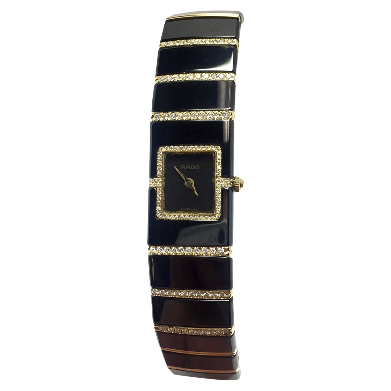"Image of ""Rado DiaStar 18K Yellow Gold & Stainless Steel 16mm Womens Watch"""