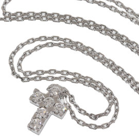 Van Cleef & Arpels 18K White Gold Mini Cross Diamond Pendant Necklace