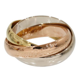 Cartier 18K Rose, White & Yellow Gold Trinity de 3 Bands Ring Size 3.25