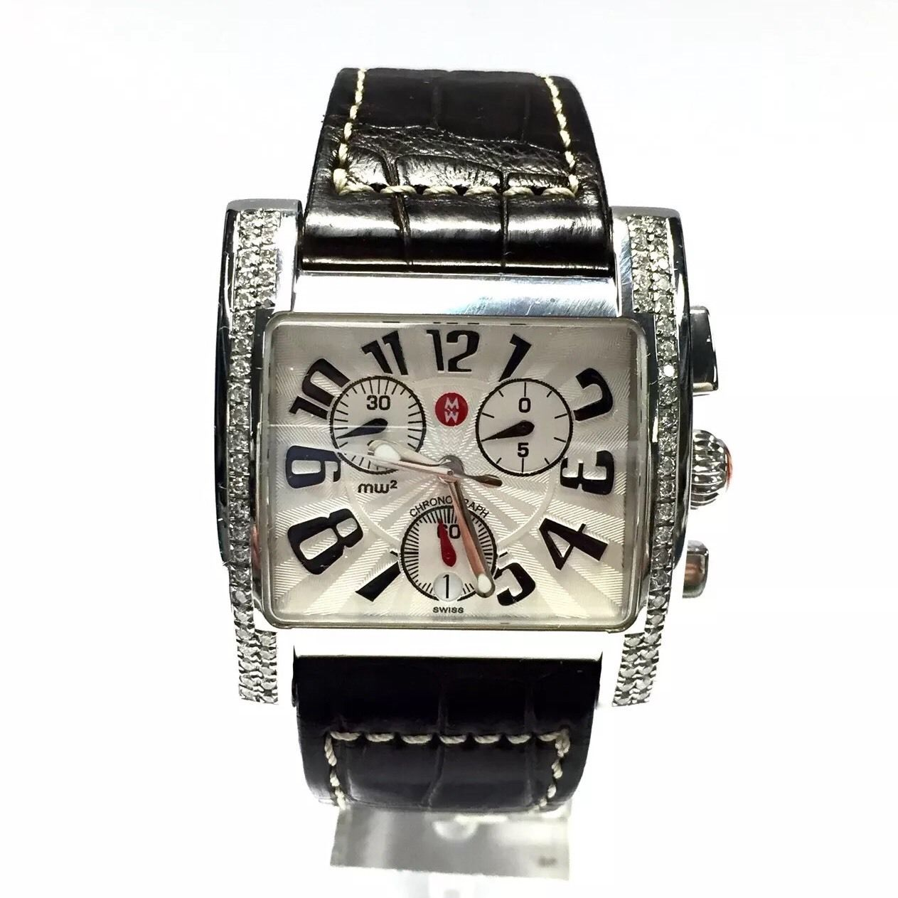 """Image of """"Michele Stainless Steel & Pearl White Dial 36mm Unisex Watch"""""""