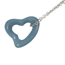 Tiffany & Co. 925 Sterling Silver Peretti Blue Turquoise Open Heart Necklace Pendant Charm