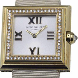 Patek Philippe Gondolo 4869J 18K Yellow Gold & Leather wDiamonds Quartz 27mm Womens Watch