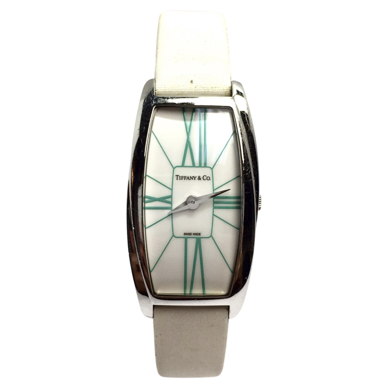 """Image of """"Tiffany & Co. Gemea Stainless Steel / Leather with White Dial 21.35mm"""""""