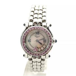 Chopard Happy Sport Stainless Steel with Custom Diamonds & Pink Sapphires Mother Of Pearl Dial 26mm Womens Watch