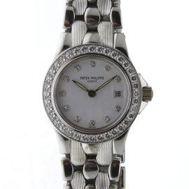 Patek Philippe Neptune 4881 18K White Gold wDiamond Quartz 26.6mm Womens Watch