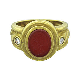 Judith Ripka 18K Yellow Gold Red Carnelian Intaglio and .12ctw Diamond Ring Size 5.25