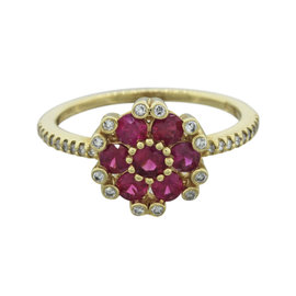 Effy 14K Yellow Gold .70ctw Red Ruby and .30ctw Diamond Flower Shape Ring Size 8.25
