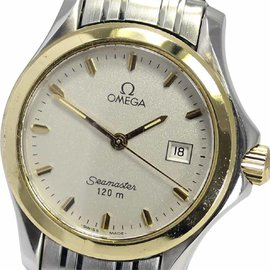 Omega Seamaster 120M Stainless Steel and Yellow Gold Plated Quartz 28mm Womens Wrist Watch