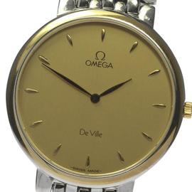 Omega Deville Stainless Steel and Yellow Gold Bezel Quartz 33mm Mens Wrist Watch