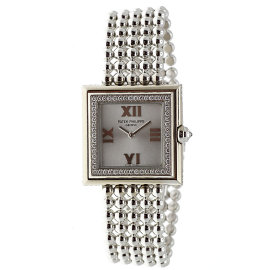Patek Philippe Gondolo 4869G-001 18K White Gold wDiamond Silver Dial Quartz 27mm Womens Watch