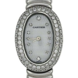 Cartier Baignoire 2368 18K White Gold wDiamond Quartz 18mm Womens Watch
