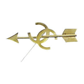 Chanel Gold Tone Metal Logo & Arrow Brooch