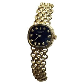 Patek Philippe 18K Yellow Gold & Blue Dial 20mm Womens Watch