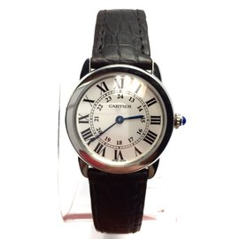 Cartier Ronde Solo Stainless Steel Black Band Womens 29.5mm Watch