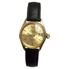 Rolex Oyster Perpetual Datejust 18K Yellow Gold Black Band 24.80mm Womens Watch