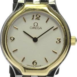 Omega Deville 347492 Stainless Steel Yellow Gold Bezel Quartz 23mm Womens Wrist Watch
