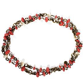Chanel Gold Tone Hardware Faux Pearl & Coral Colored Beads Necklace