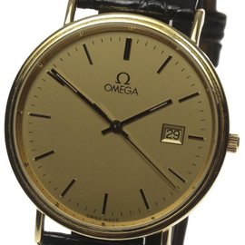 Omega 18K Gold/Leather Belt 36mm Quartz Mens Watch