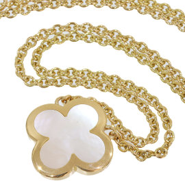 Van Cleef & Arpels 18K Yellow Gold White Shell Alhambra Pendant Necklace