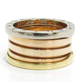 Bulgari B-Zero1 18K White Rose & Yellow Gold Band Ring Size 6.5