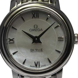 Omega DeVille Prestige 424.10.24.60.05.001 Stainless Steel Mother of Pearl Dial Quartz 24mm Womens Watch