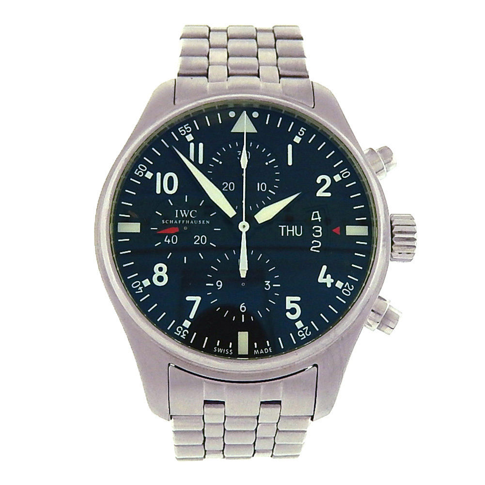 "Image of ""IWC Pilots Iw377704 Stainless Steel Chronograph Automatic Black 43mm"""