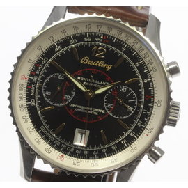 Breitling Montbrillant A48330 Stainless Steel & Leather Automatic 43mm Men's Watch