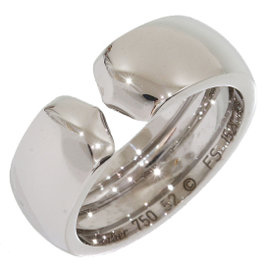 Cartier 18K White Gold Double C Motif Ring Size 6.25