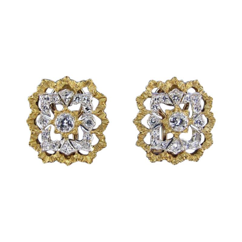 """Image of """"Buccellati 18K Yellow Gold & Diamond Earrings"""""""