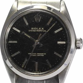 Rolex 1570 Stainless Steel Black Glossy Gilt Dial 34mm Mens Wrist Watch