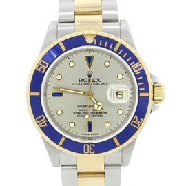 Rolex Submariner 16613 18K Yellow Gold & Stainless Silver Serti Dial 40mm Mens Watch