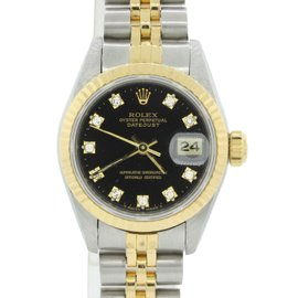 Rolex Datejust 69173 18K Yellow Gold & Stainless Steel Black Diamond Dial 26mm Womens Watch