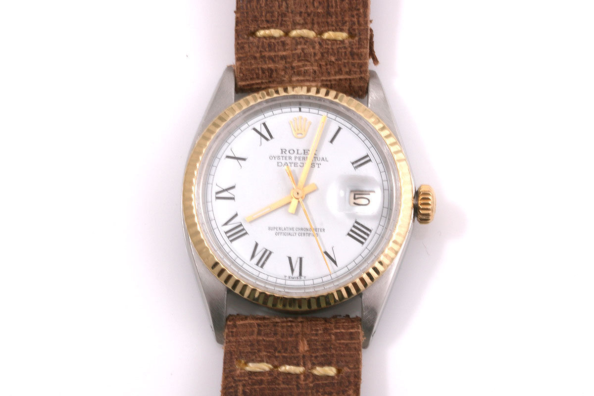 """Image of """"Rolex Datejust 18K Yellow Gold / Stainless Steel & Leather 36mm Mens"""""""