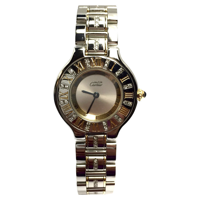 "Image of ""Cartier Must De Stainless Steel and Gold-Plated 31mm Womens Watch"""