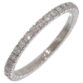 Bulgari Bvlgari 18K White Gold Diamonds Ring Size 4.25