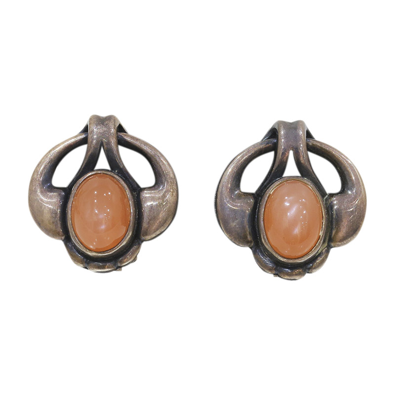 """Image of """"Georg Jensen 925 Sterling Silver Coral Clip Earrings"""""""