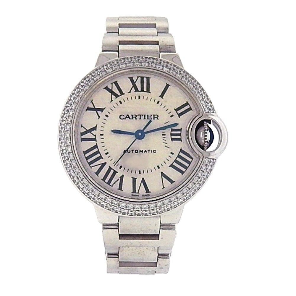 Cartier Ballon Bleu We902065 18K White Gold Automatic Diamonds Silver